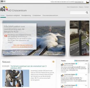 Plaatje van de homepagina van de website van het crisiscentrum